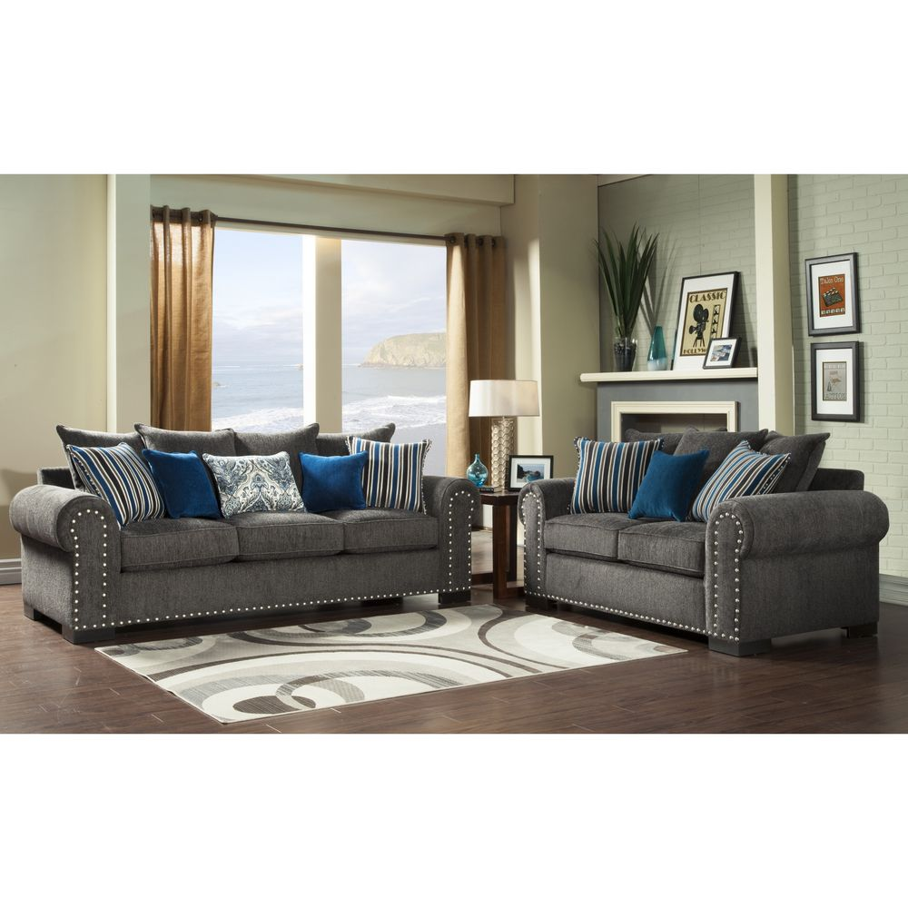 Overstock Living Room Furniture Furniture Of America Ivy Grey Blue Modern 2 Piece Sofa Love Set By