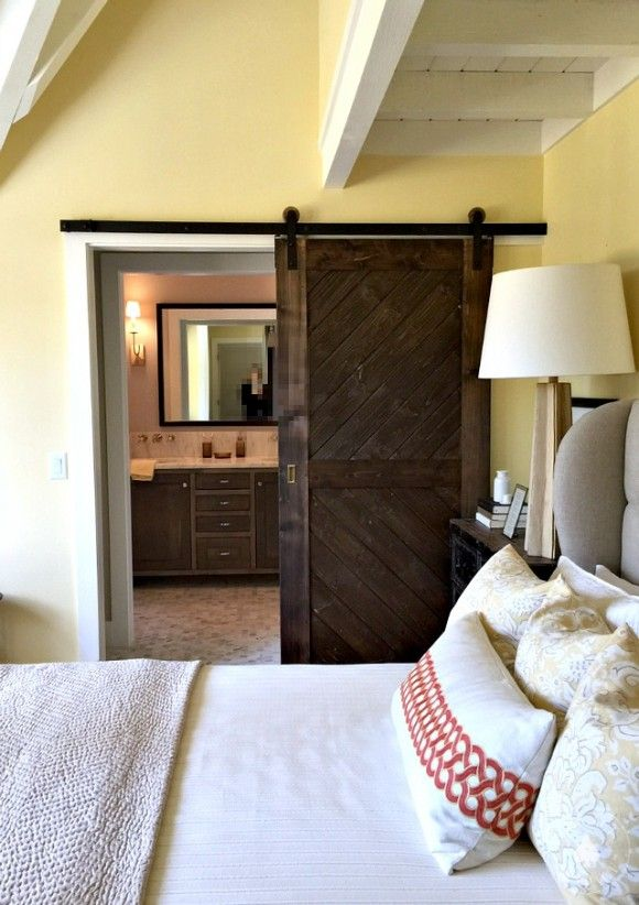 From This Old House Idea Cottage 2015. Designer/ Yvonne McFadden Photo/  VIcki Gladle Bolick A Peek Into The Master Bath, Via A Custom Sliding Barn  Door.