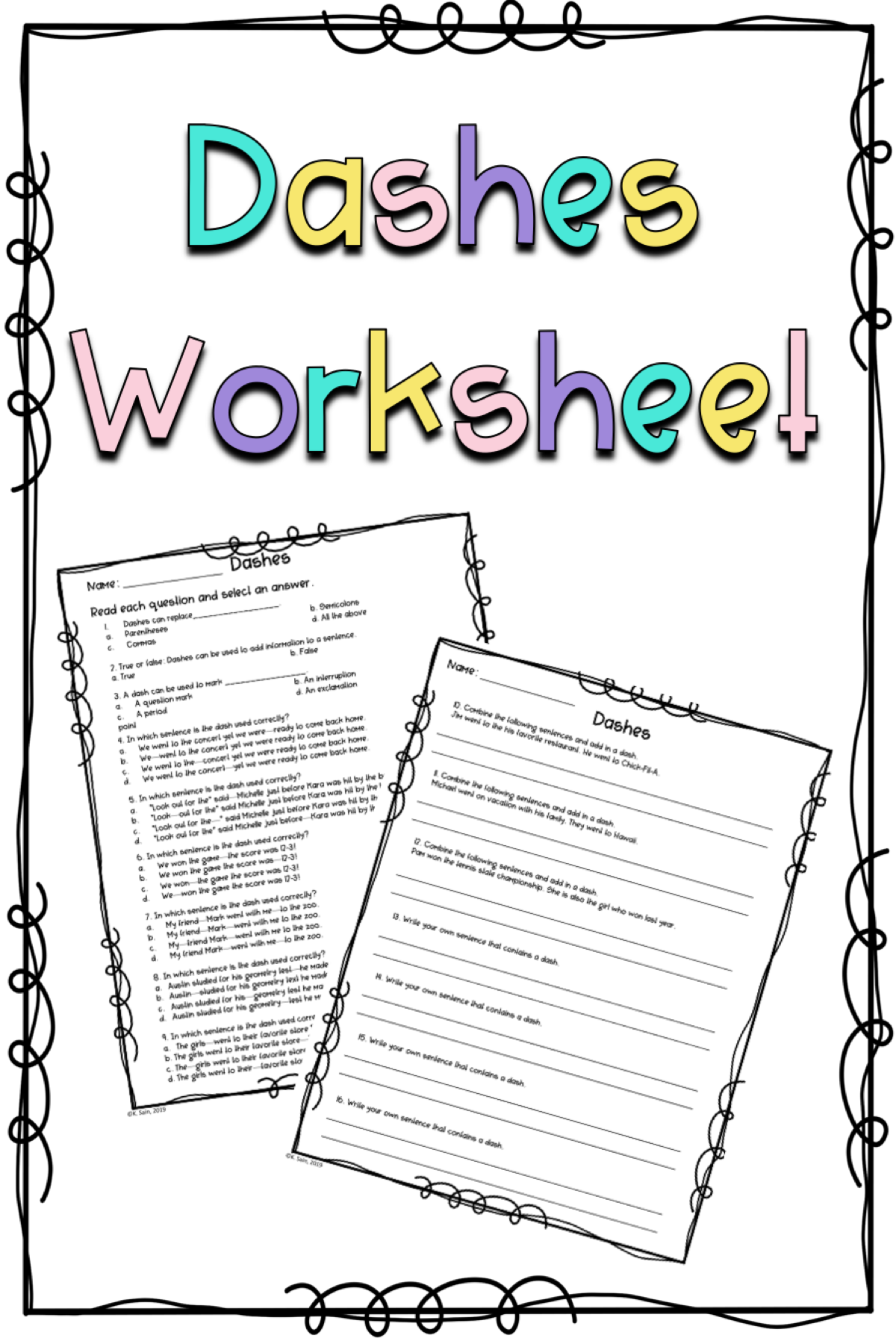 Dashes Worksheet Or Assessment In