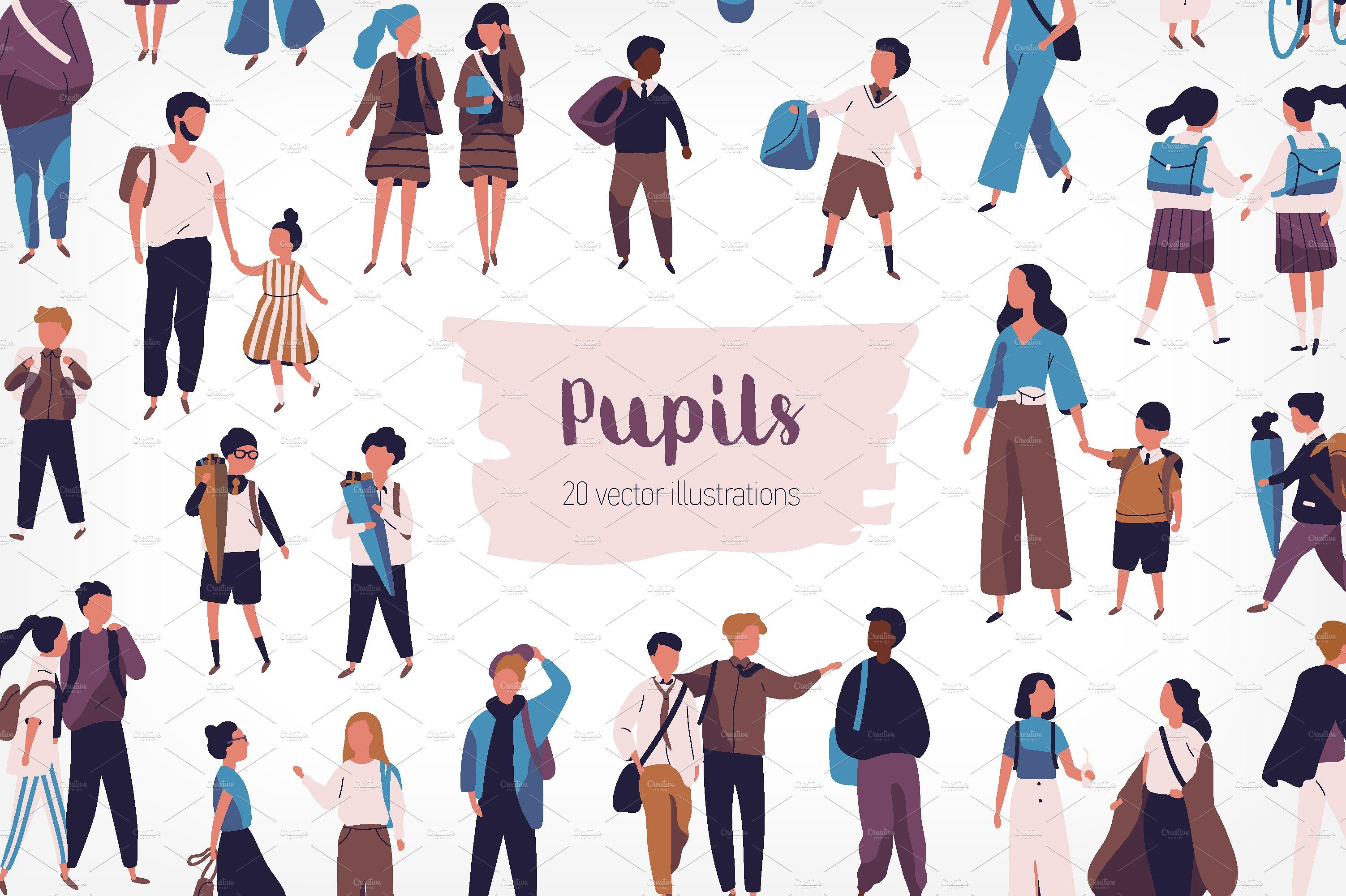 Crowd Of Pupils And Students People Png Vector Illustration People Illustration