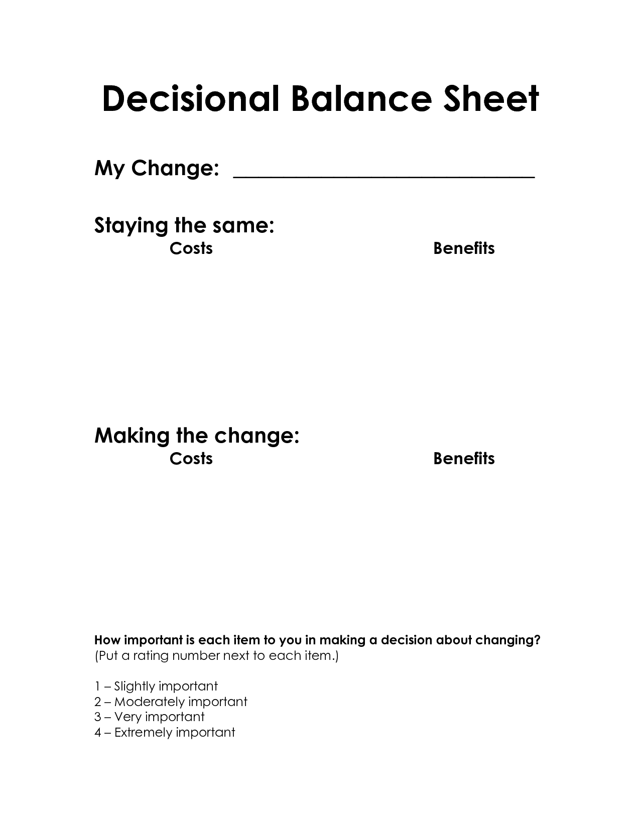 Decisional Balance Sheet (Motivational Interviewing ...