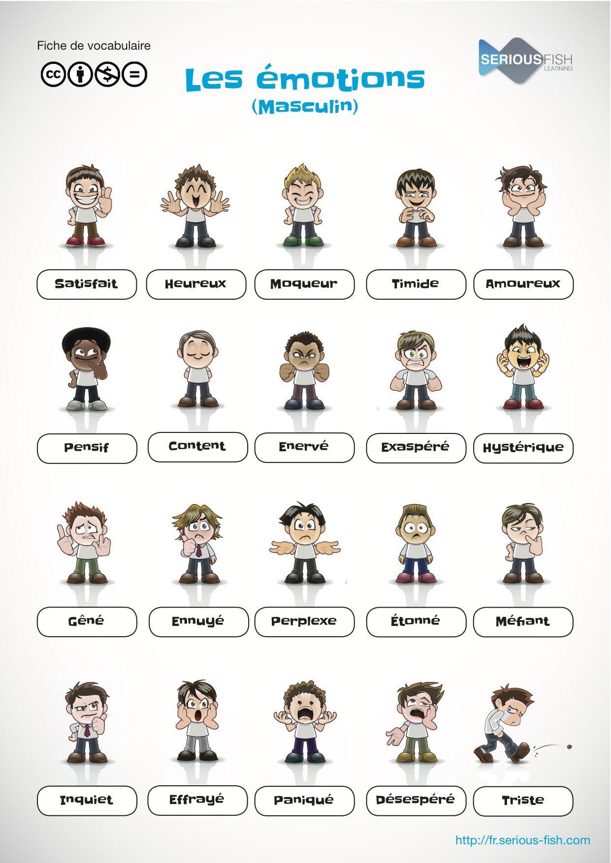 Les Adjectifs Des Humeurs Et Des Emotions En Francais El