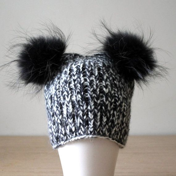 Double pom pom hat Fur pom pom hat Black by HatsAndOtherStories