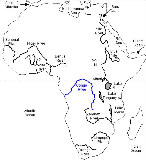 Congo River On World Map The Congo River | Geography map, Africa map, African map