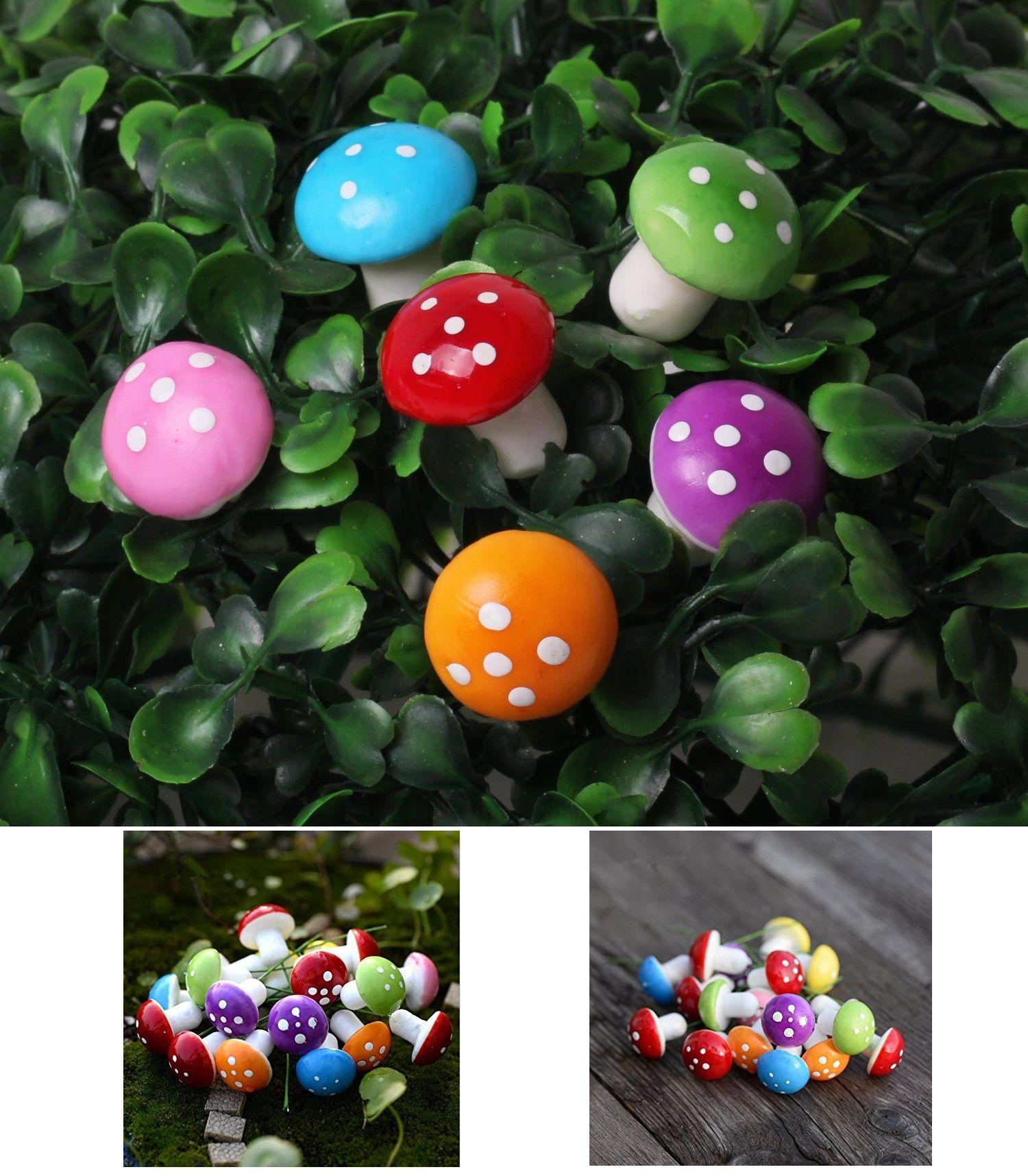 60pcs Mini Miniature Plant Pots Fairy Foam Mushroom Garden Decoration