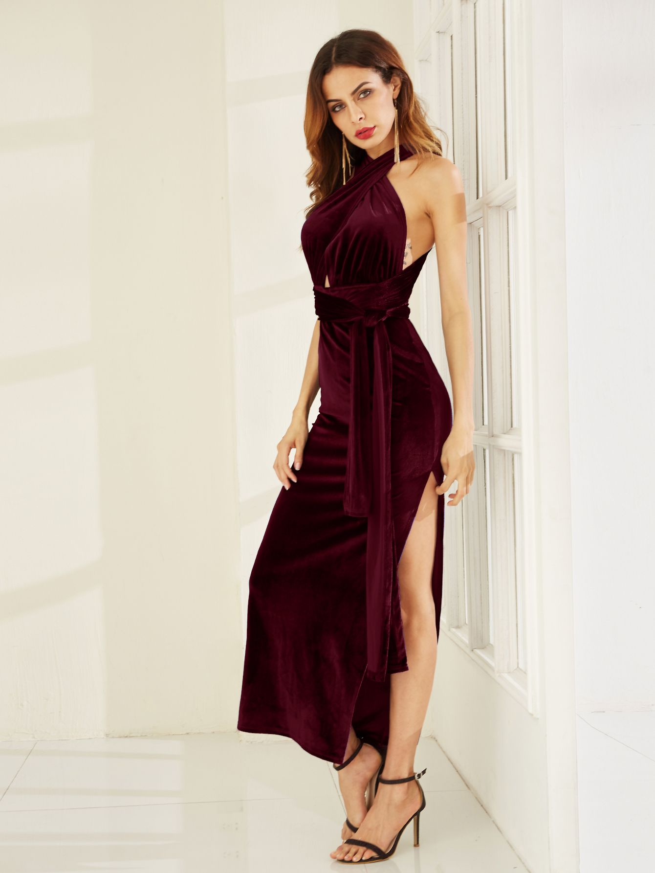 c41160ee0b1b Robe fente haut velours convertible -bordeaux rouge -French SheIn(Sheinside)