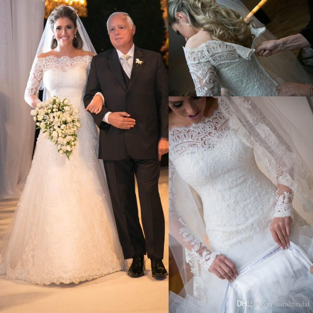 A line empire waist wedding dress  White offshoulder long sleeves Aline full lace dress modest
