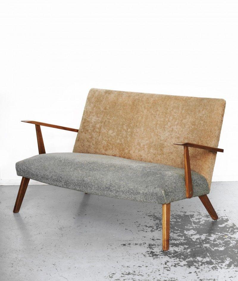 Tweezits Design Bank.Vintage Jaren 60 Deens Design Twee Zits Bankje Soekis