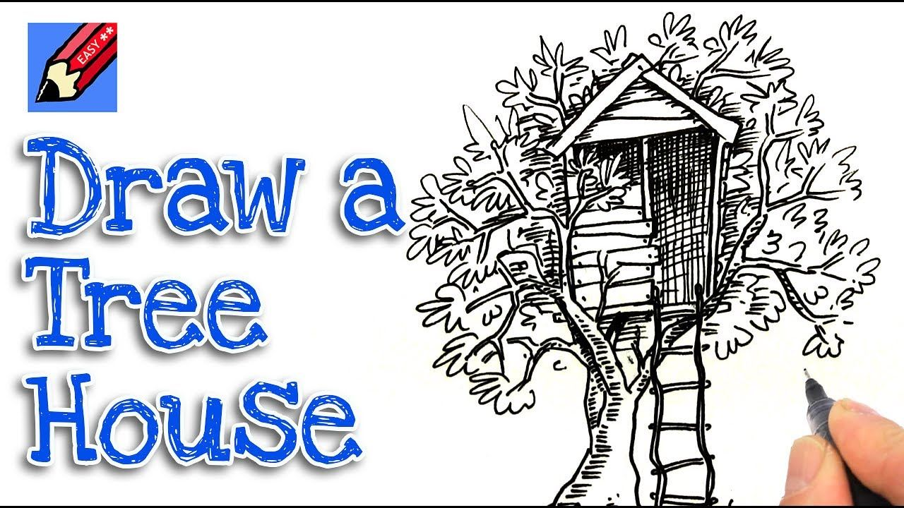 How To Draw A Treehouse Real Easy Step By Step Tree House Tree House Drawing Drawings