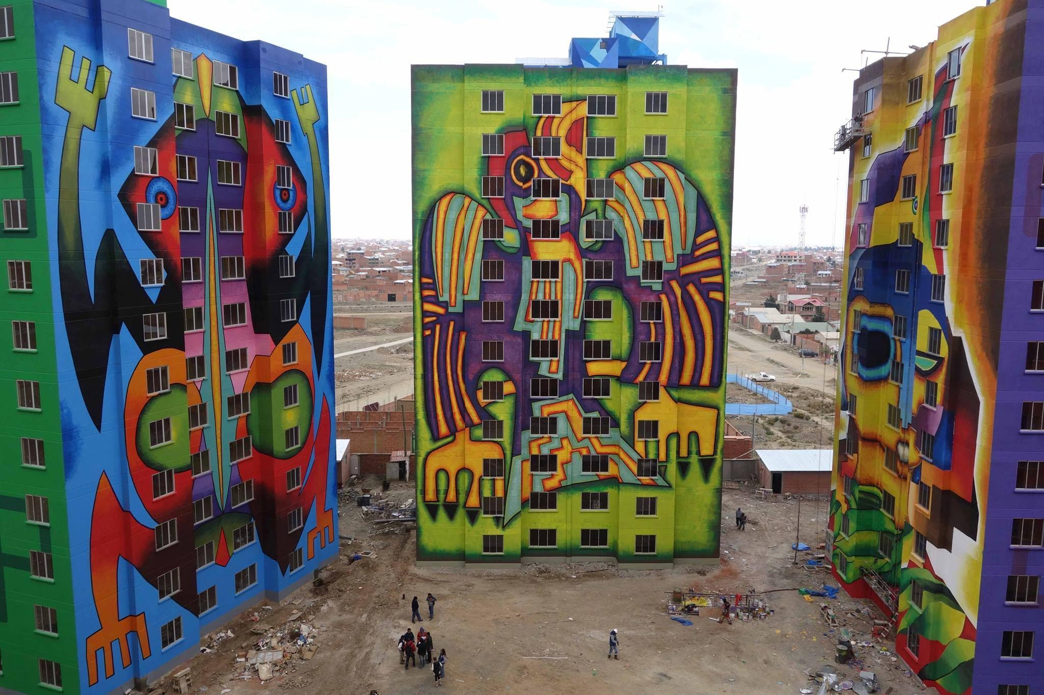 Mamani Mamani  Mega Obra Whipala  El Alto Bolivia  Bolivia