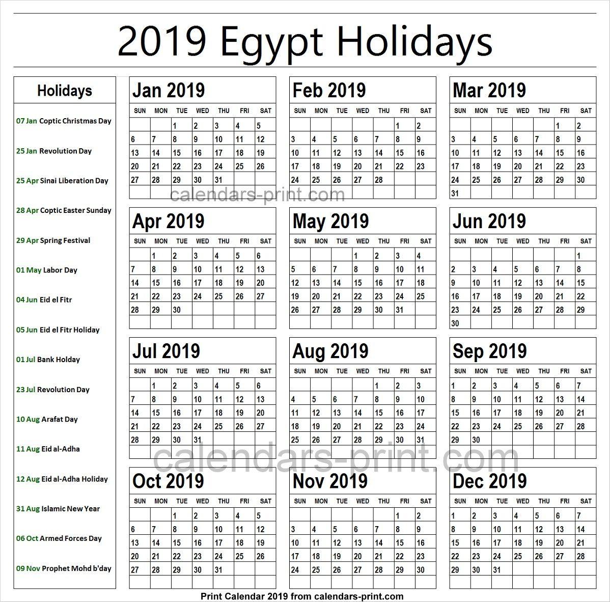 2019 Bank Holidays Egypt
