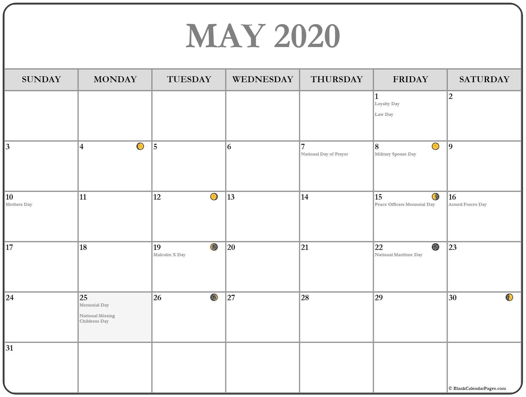 Printable May Moon Calendar In
