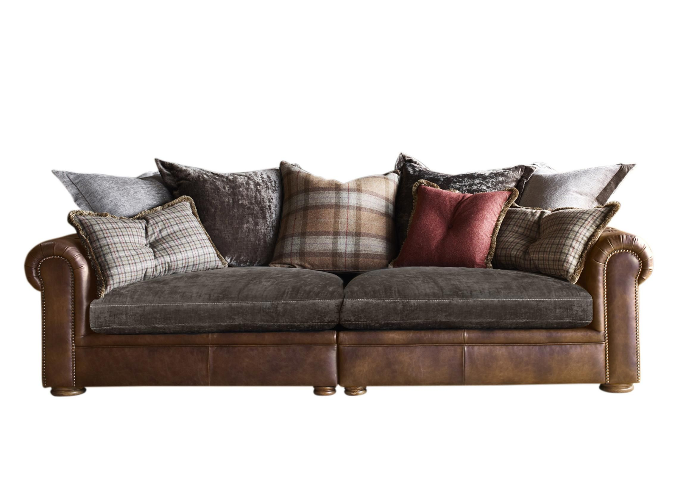 A Lovely Eclectic Mix Of Leather Upholstery And Fabric Cushions Make This Large 4 Seater Split Scatter Back Sofa So Charmin Cushions On Sofa Pillows Sofa Frame