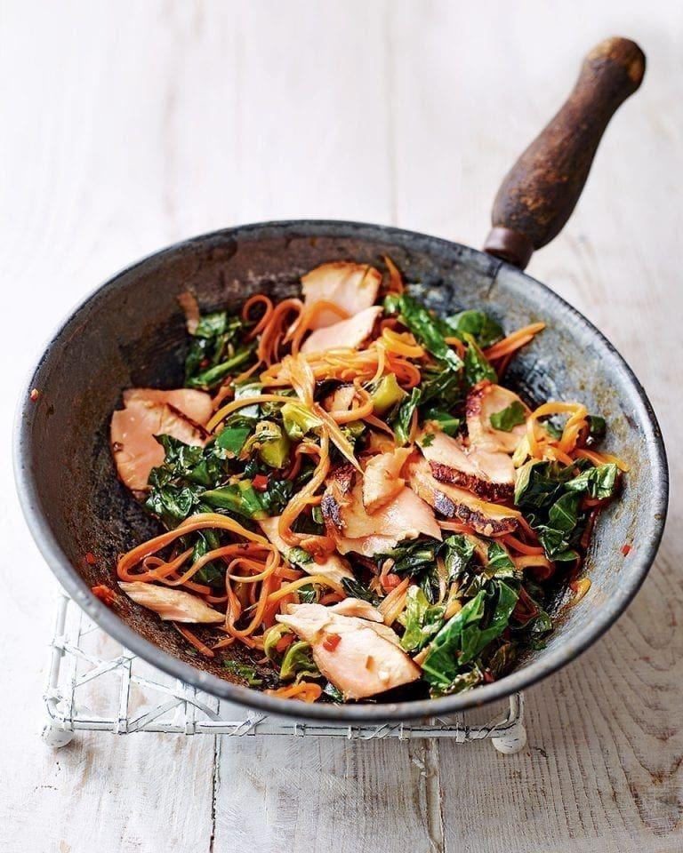 Easy pan-seared teriyaki salmon stir-fry #teriyakisalmon