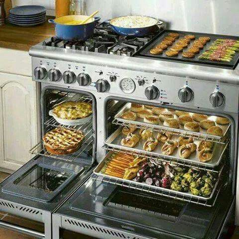 Multi Level Double Oven Gas Burner Stove And Griddle Top