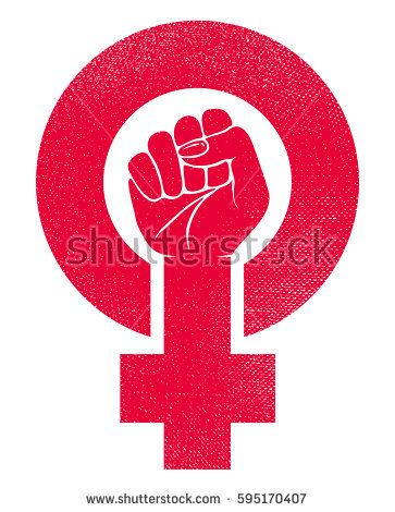 Female Gender Symbol And Raised Fist Feminism Vector Icon Or Logo