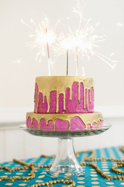 Gold & Fuchsia Birthday Cake with Sparklers