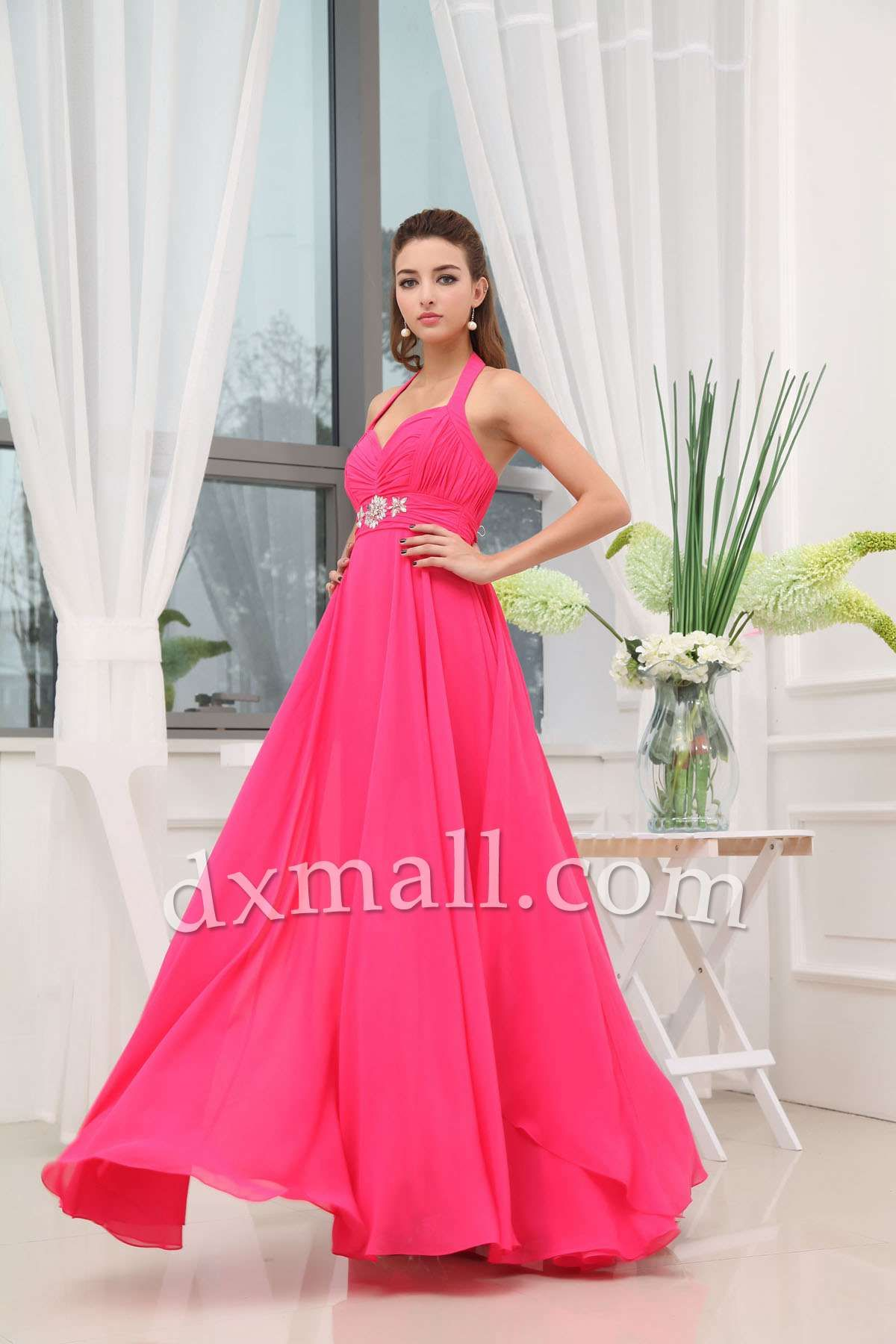 Empire Wedding Guest Dresses Halter Sweep/Brush Train Chiffon Pink ...