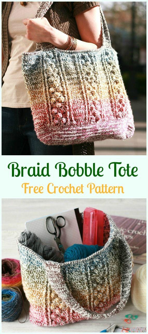 Braid Bobble Tote Bag Free Crochet Pattern - Crochet Handbag Free ...
