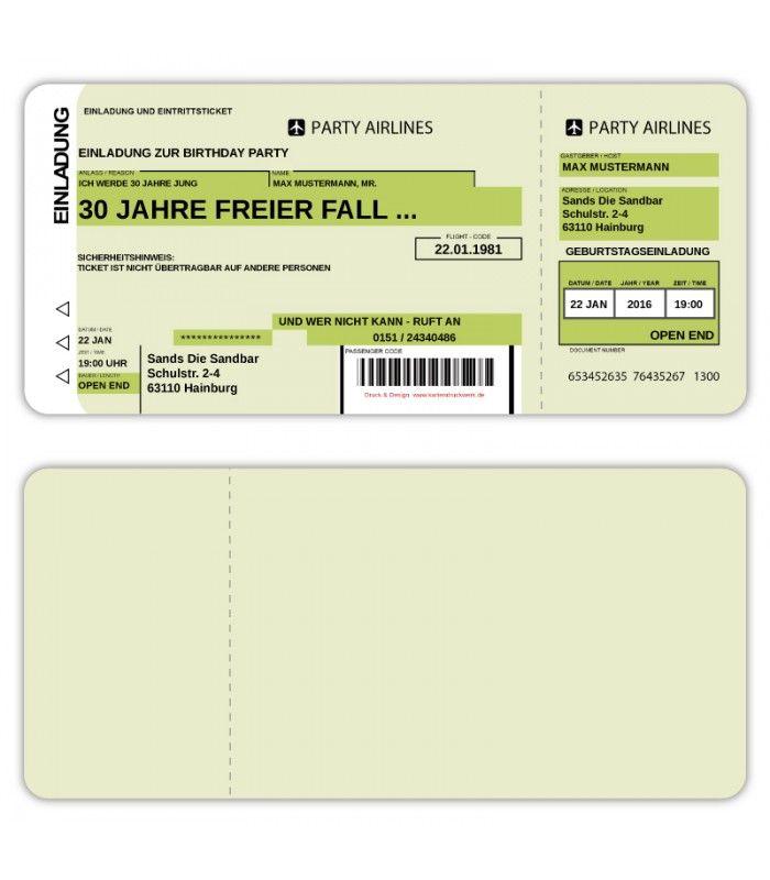einladungskarten flugticket geburtstag ticket einladung karte, Einladungsentwurf