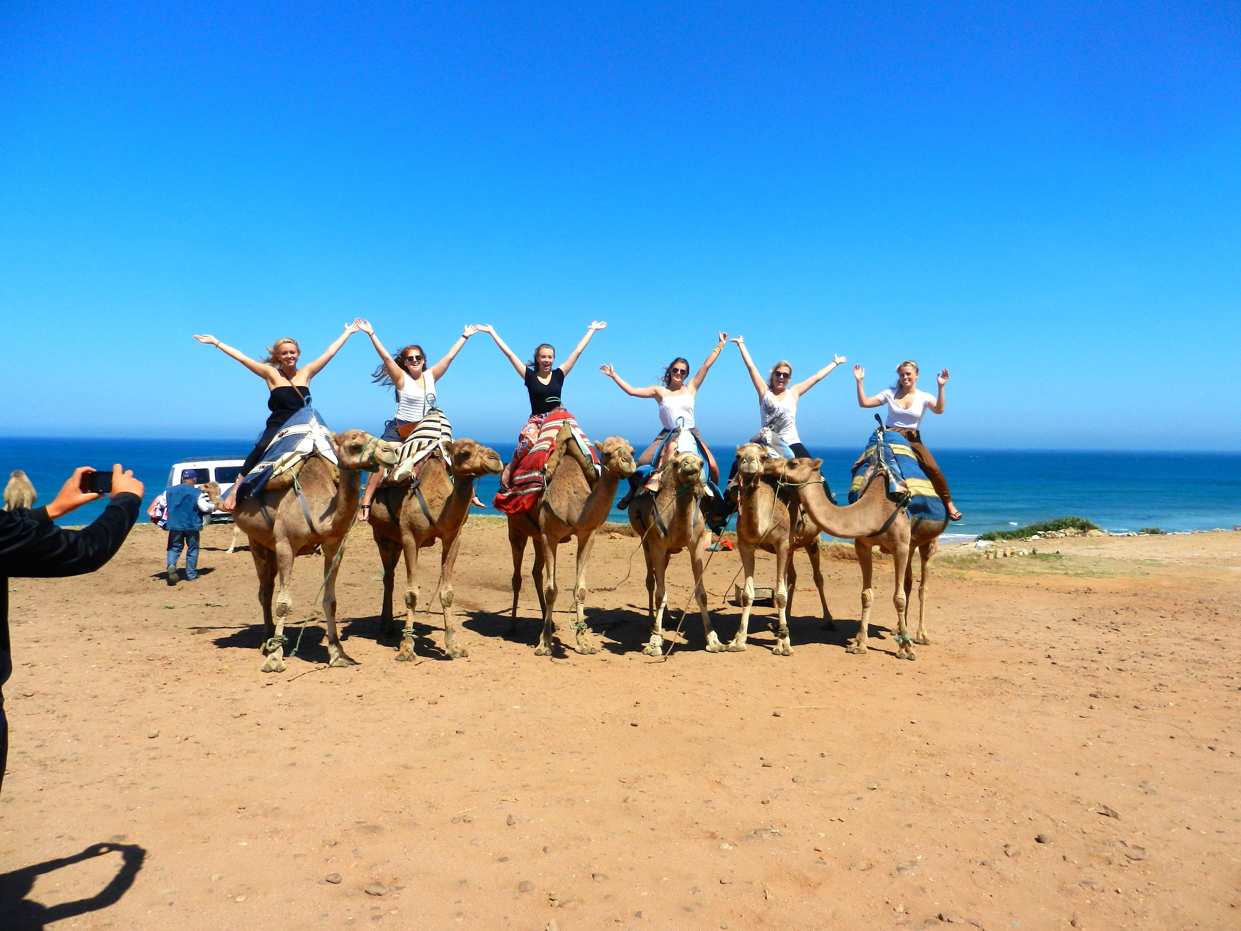 Me and my study abroad friends crossing off another thing on my bucket list. Riding camels in Morocco!