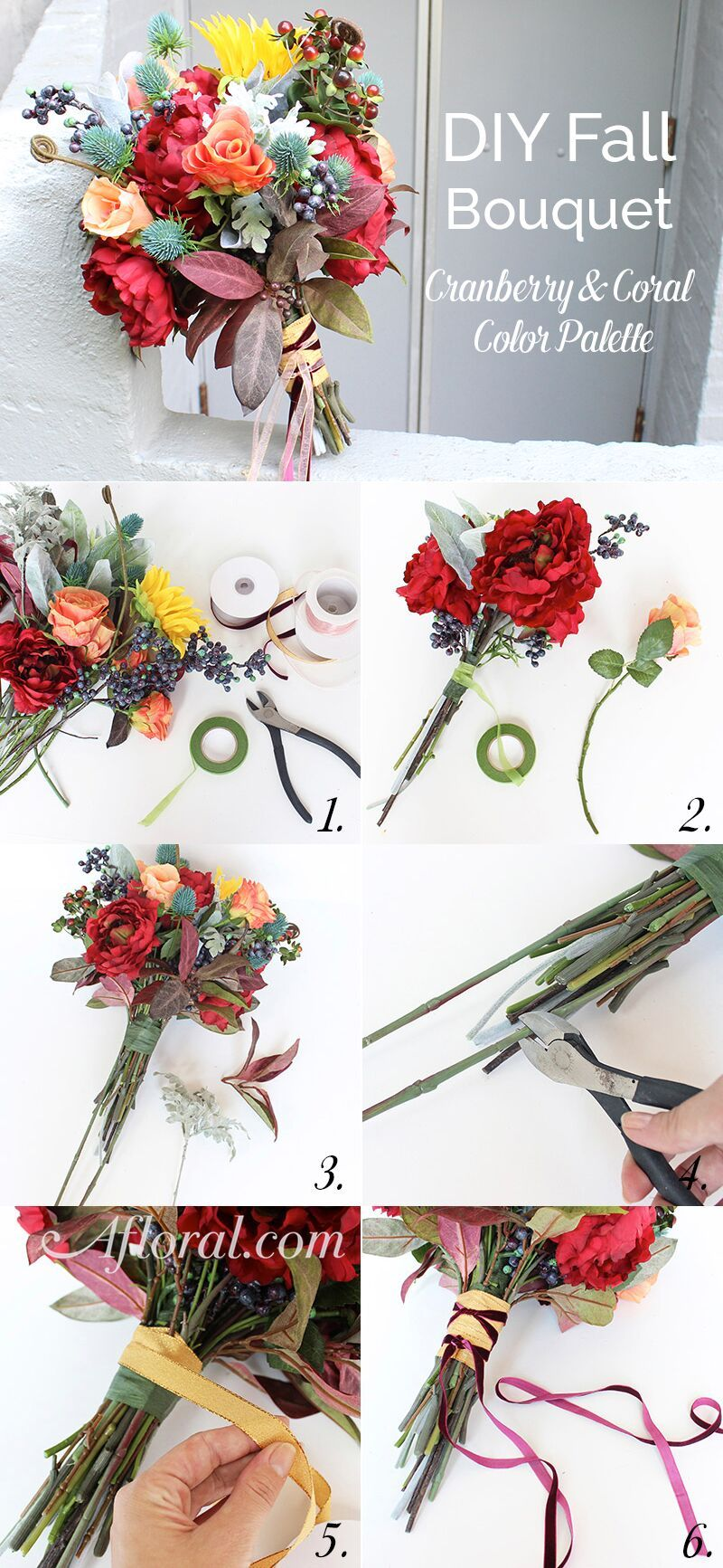 Diy fall bouquet cranberry coral pinterest silk flowers how to make a stunning diy fall wedding bouquet with silk flowers from afloral follow these simple instructions and create your own one of a kind mightylinksfo