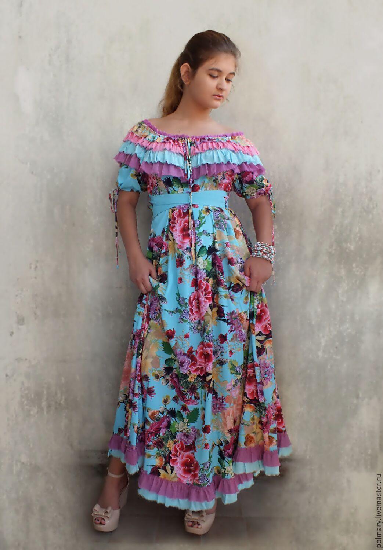 cd59eaeb20e Платья ручной работы. Платье небесно-голубое с цветами
