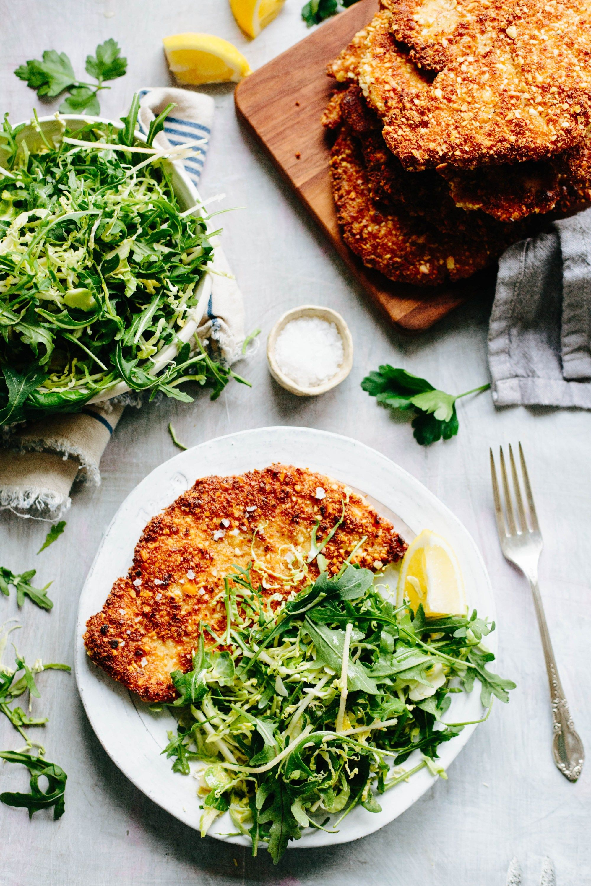 Almond chicken cutlets with apple arugula brussels