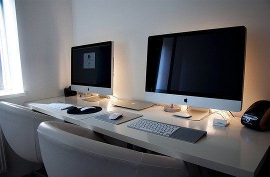 a couple's cubicle at home dual desk setup — desktops | desk setup
