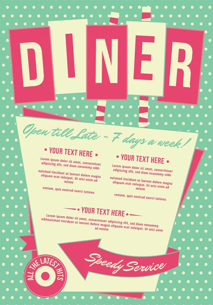 Featuring a vintage diner menu, bowling logo and atomic ...