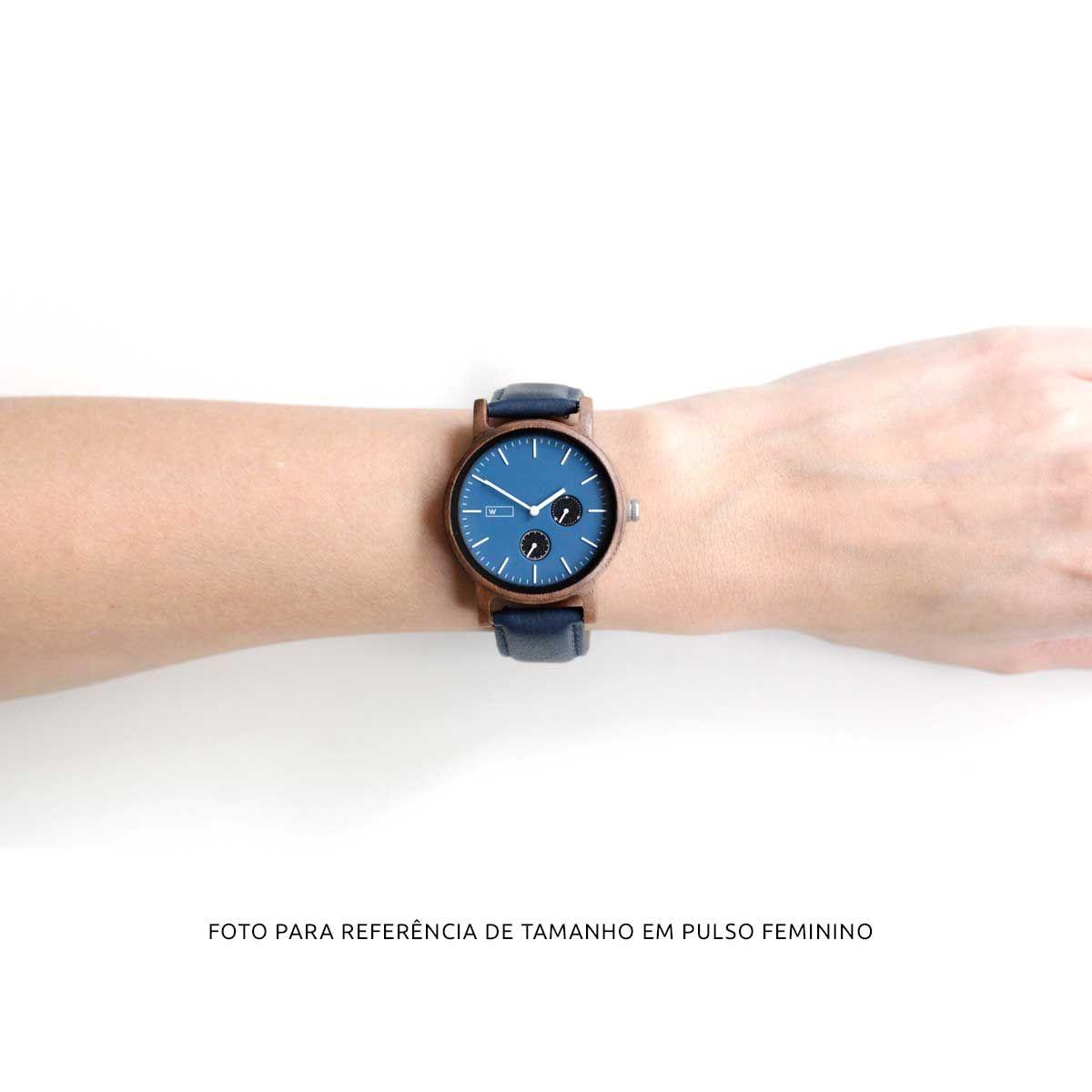 Relógio de Madeira Woodz Kor Blue (Pulseira de Couro Azul) #caixasdemadeira