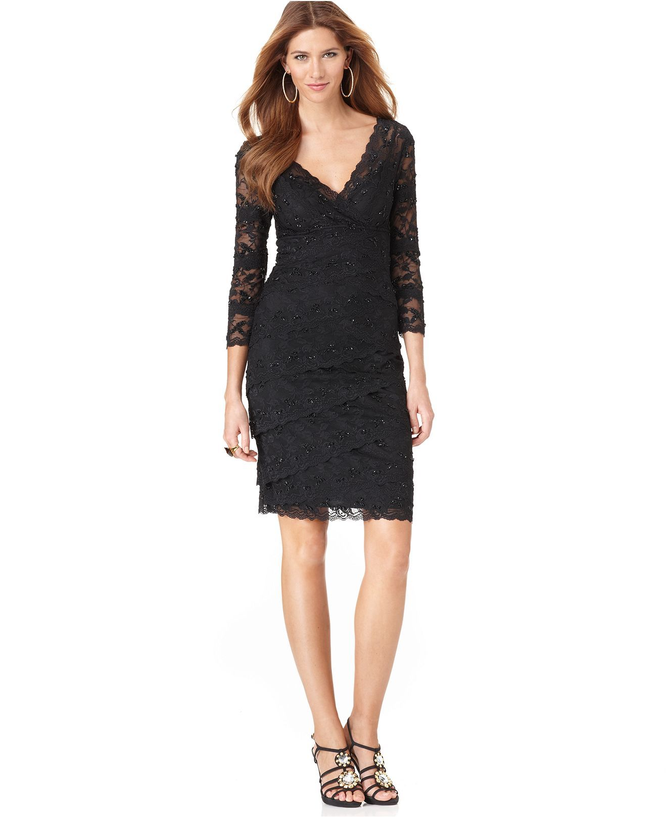 Marina Dress Three Quarter Sleeve Tiered Lace Cocktail Dress Womens Mother Of Cocktail Dresses With Sleeves Cocktail Dress Lace Black Lace Long Sleeve Dress [ 1616 x 1320 Pixel ]