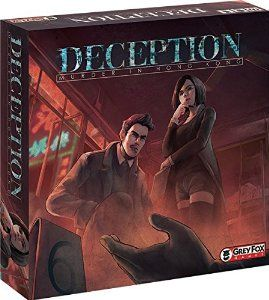 DECEPTION: Modern take on CLUE dressed up as a party game. Beautiful artwork and engaging game play.  A more straightforward take on the MYSTERIUM concept.  We like it. For 4-12 players.