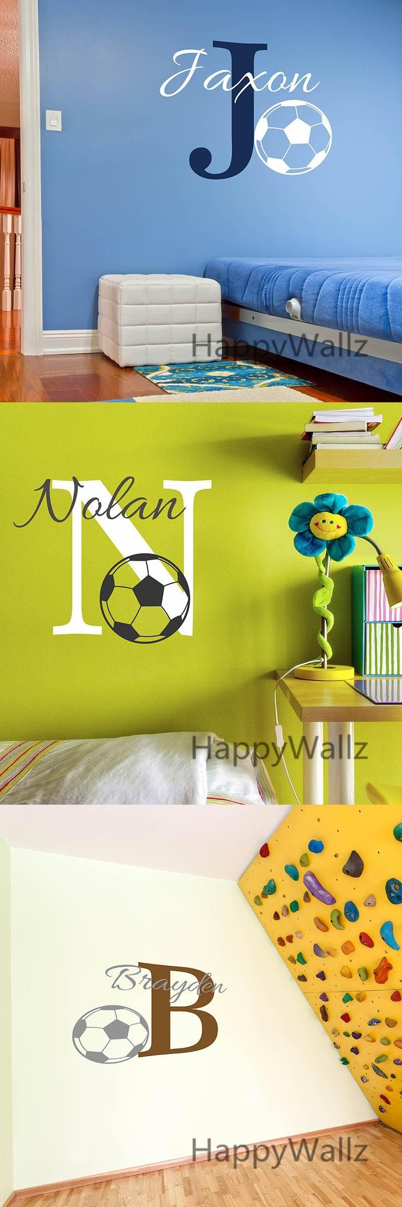 Baby Nursery Football Name Custom Wall Sticker Kids Room Football ...