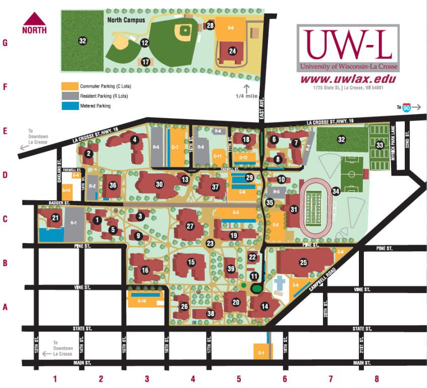 uw lacrosse | College | Campus map, College, Map