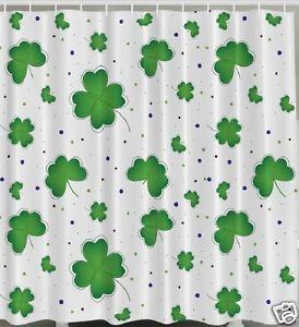 Clover Shower Curtain Luck Hearts Green Irish St Patrick S Day