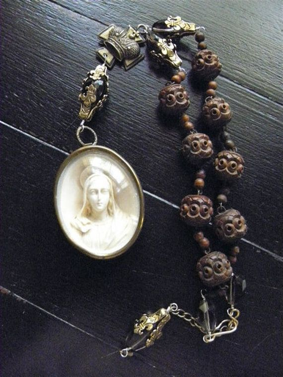 Reserved - SACRE MARIE - Rosary Jewelry from Antique French Wooden Rosary, Meerschaum of Mary, and Other French Elements #rosaryjewelry
