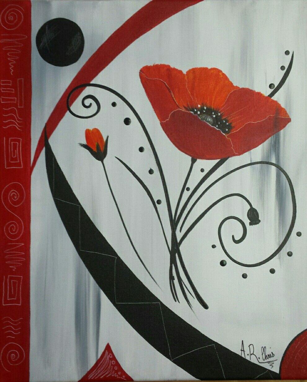 tableau moderne coquelicots en rouge et noir peinture acrylique sur toile ch ssis plat 45x55. Black Bedroom Furniture Sets. Home Design Ideas