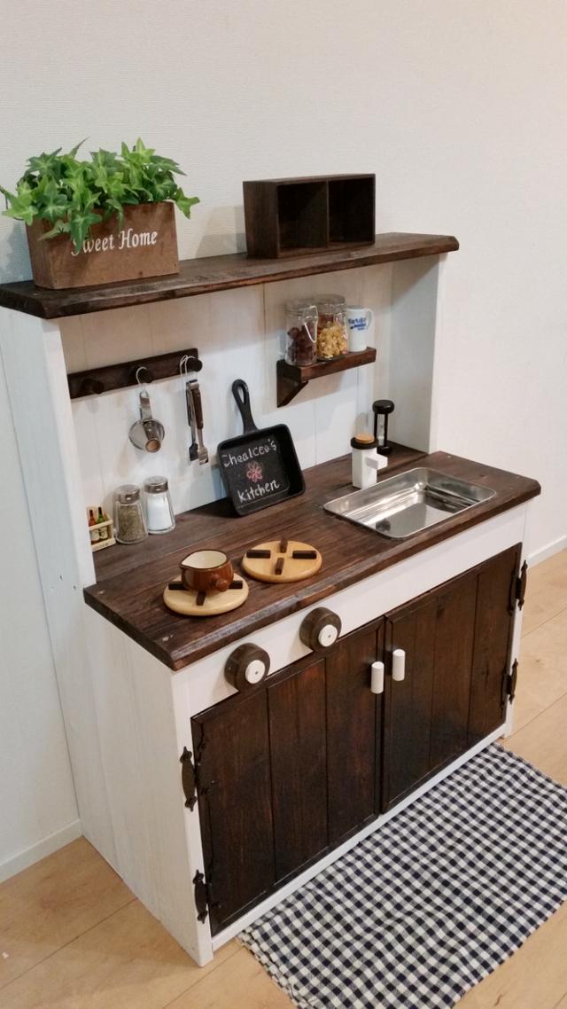 シンク四角に変更可 オシャレな木製おままごとキッチン おままごとキッチン おままごと用キッチン キッチン Diy