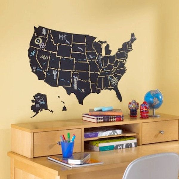 USA Map Divided by State Chalk Classroom Vinyl Wall Decals ...