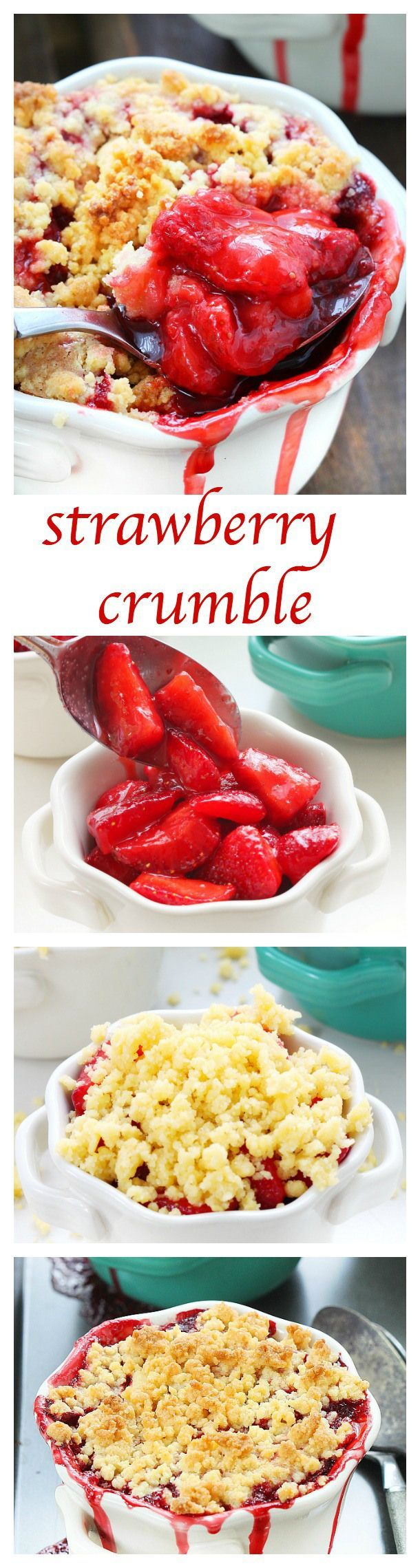 strawberry crumble Juicy fresh strawberries and a buttery topping make this strawberry crumble one of my favorite summer desserts!! Simple ingredients and only 5 minutes of prep time, I'll be making this over and over again, all summer long!Juicy fresh strawberries and a buttery topping make this strawberry crumble one of my favorite su...