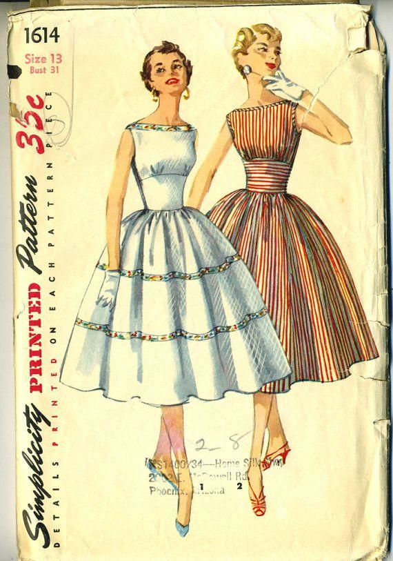Vintage 50er Jahre Einfachheit 1614 Misses von RomasMaison auf Etsy ...
