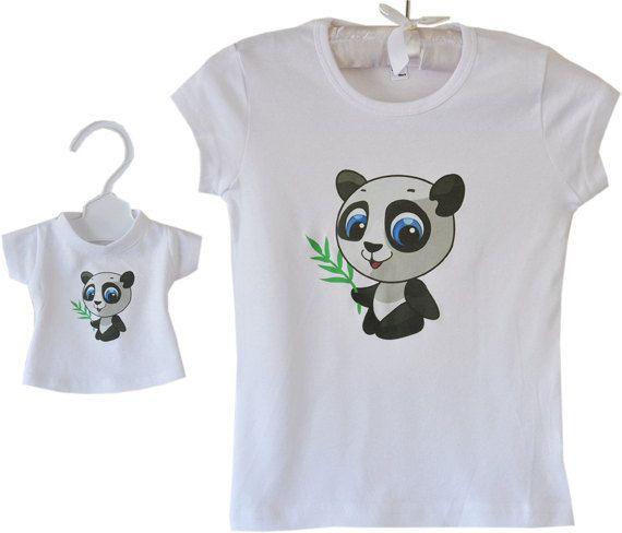 American Girl Matching Doll Girl Tshirt with Cute Panda