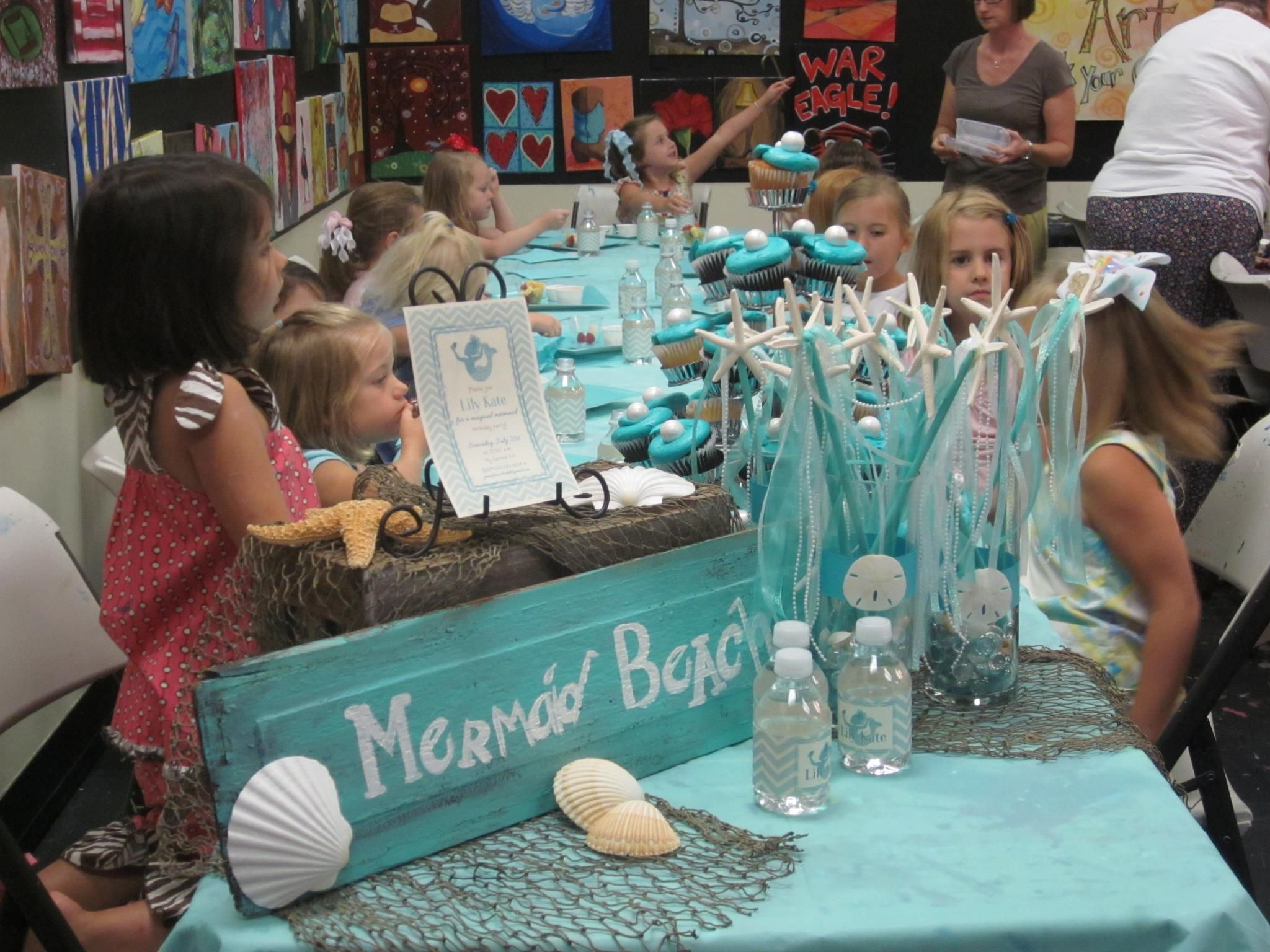 Mermaid Theme party! (At Spirited Art Huntsville)  Love the sand dollar wands!