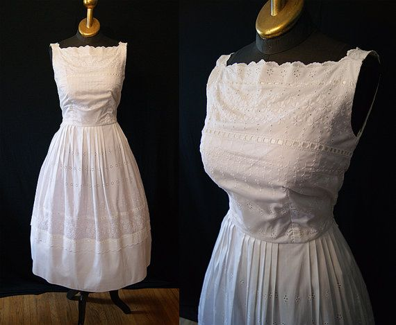 Summer Wedding 1950 S White Cotton Eyelet Sun Dress By Wearitagain