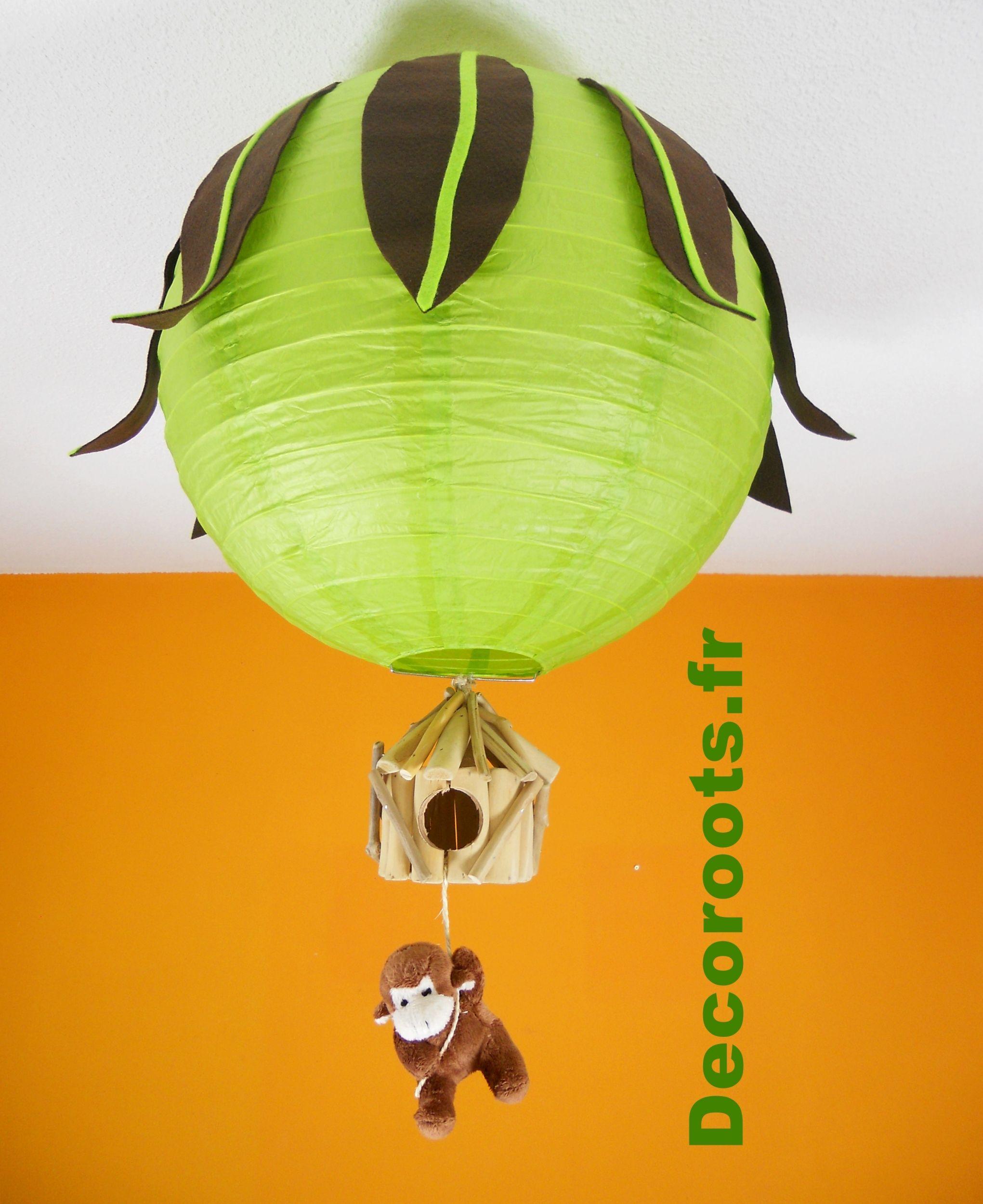 Lustre Jungle Vert Anis Marron Chocolat Singe 3 Lustre Enfant