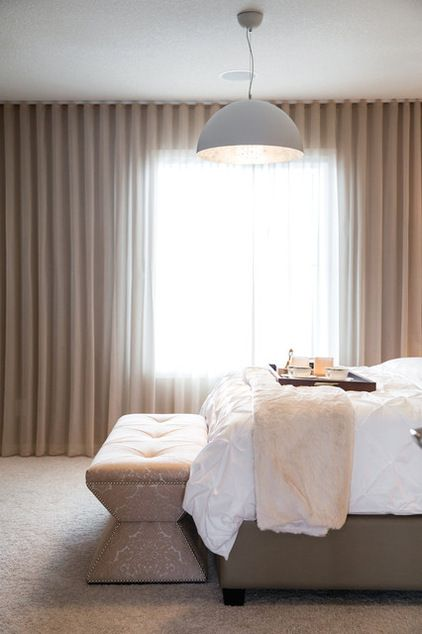 Transitional Bedroom with stunning floor to ceiling ripple fold curtains