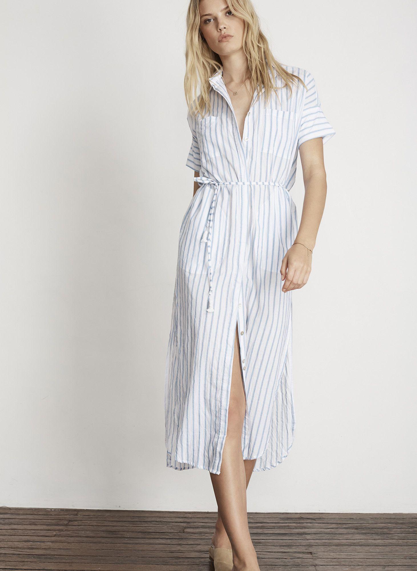 Pallais stripe print blanca shirt maxi final sale style file