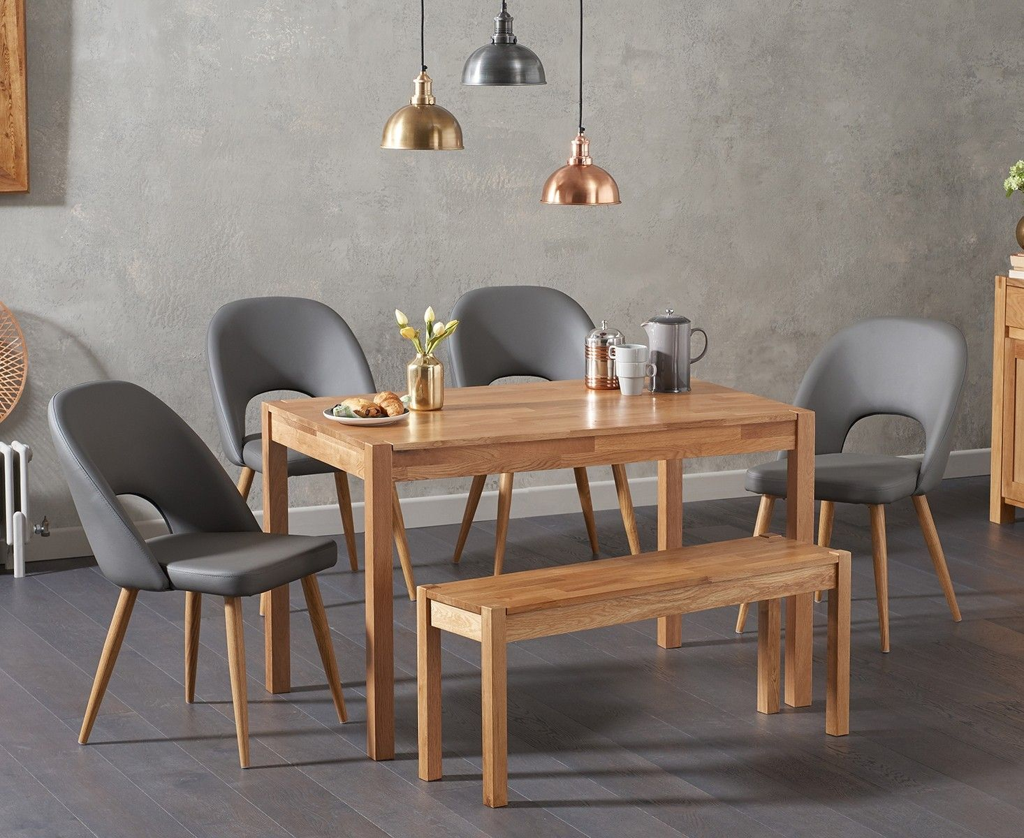 Oxford 120cm Solid Oak Dining Table With Halifax Faux Leather Chairs With Oxford Bench Oxford Solid Oak Dining Table Oak Dining Table Oak Extending Dining Table