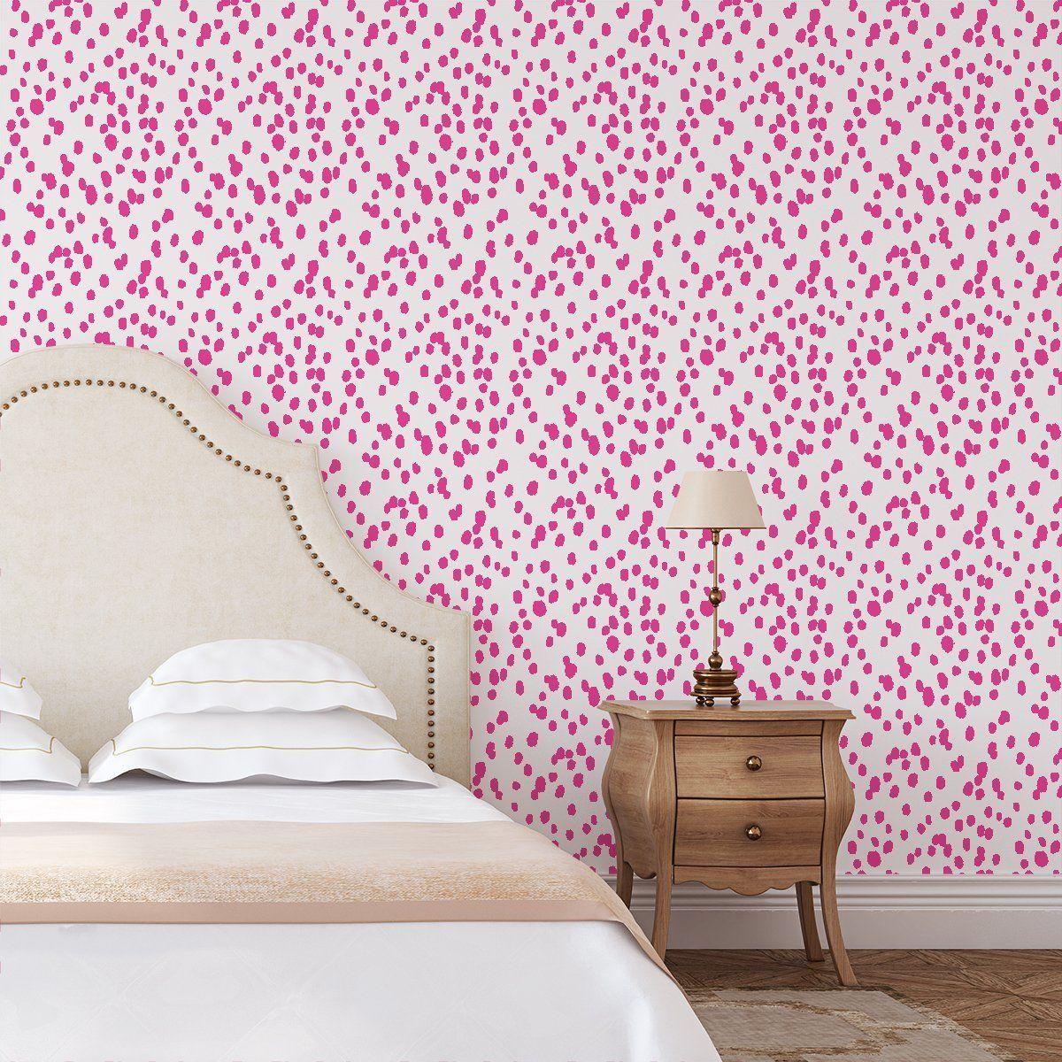 Seeing Spots Peel Stick Wallpaper In 2021 Preppy Room Decor Pink Wallpaper Bedroom Girls Bedroom Wallpaper